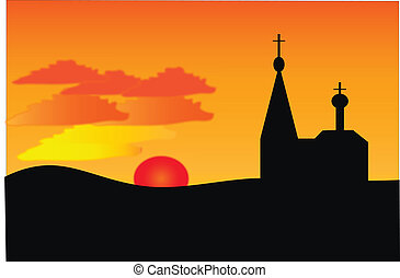 An orange sunset and orthodoxy church - Vector image An...