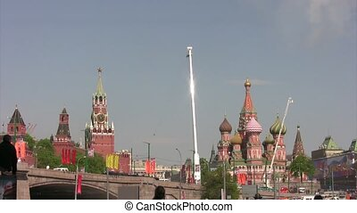 Planes fly leaving trail of smoke on parade - MOSCOW - MAY...