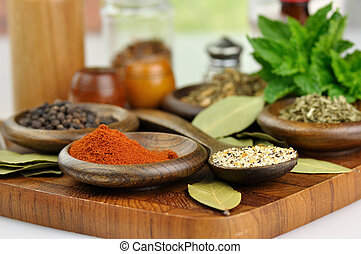 spices arrangement - arrangement of spices on a wooden board...