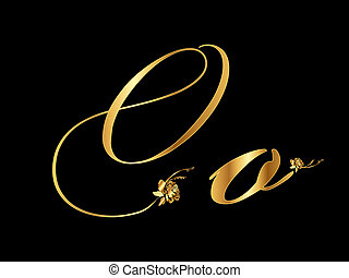 Gold vector letter O with roses collection