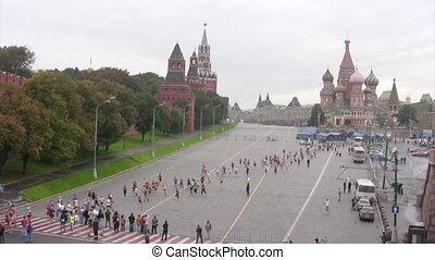 Participants run along Kremlin near Red Square, XXX MOSCOW INTERNATIONAL PEACE MARATHON.