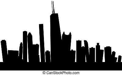 Wobbly Chicago Skyline - Skyline silhouette of Chicago, USA