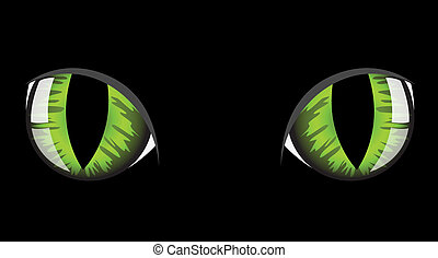 Cat's eyes - green cat eyes on black background
