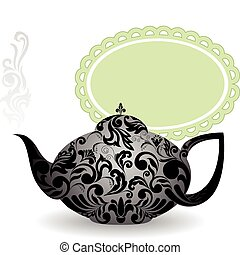 Kettle on a green background - teapot with a beautiful...