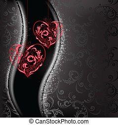 lacy hearts - two lacy red hearts on a black background of...