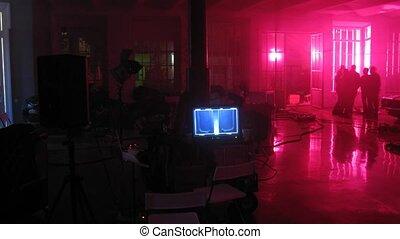 People preparing set to make video clip in studio - People...