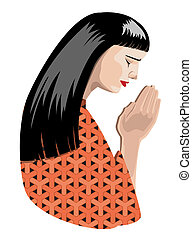 praying woman - illustration of praying woman, vector format...