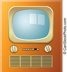 retro tv set - vector retro tv set with blue screen
