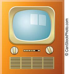 retro tv set - vector retro tv set with blue screen