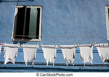 Houses in Burano Island - Typical Italian houses at Burano...