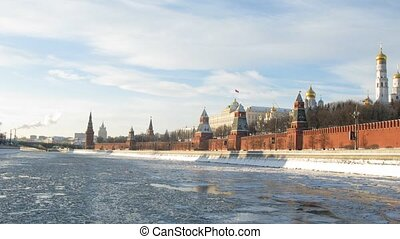 Winter boat ride near Kremlin, time lapse - Winter boat ride...