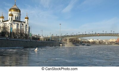 Winter boat ride near Cathedral of Christ the Saviour, time lapse