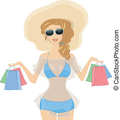 Shopaholic - Illustration of a Girl Carrying Shopping Bags