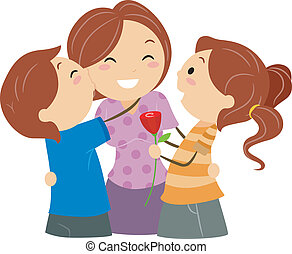 Mothers Day - Illustration of Kids Greeting their Mom on...