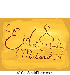 Eid Mubarak - Background Illustration with an Eid al-Fitr