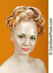 Portrait of beautiful girl  blonde