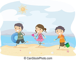 Running Kids - Illustration of Kids Running on the Beach