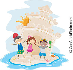Sand Castle - Illustration of Kids Presenting a Big Sand...