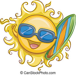 Surfer Sun - Illustration of the Sun Holding a Surfer Board