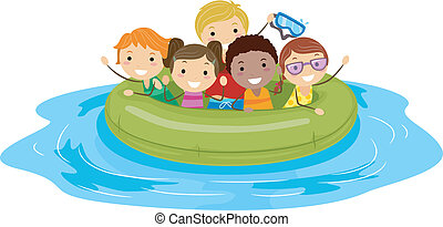 Inflatable Boat - Illustration of Kids on an Inflatable Boat