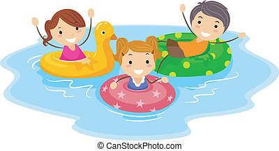 Flotation Device - Illustration of Kids Wearing Flotation...