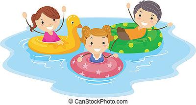 Flotation Device - Illustration of Kids Wearing Flotation...