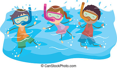 Snorkeling Kids - Illustration of Kids Snorkeling
