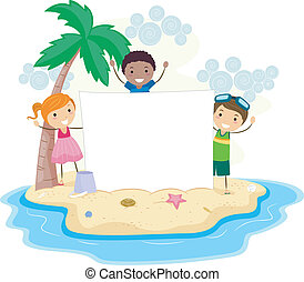 Island Banner - Illustration of Kids Holding a Banner