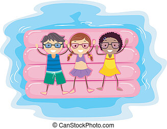 Inflatable Raft - Illustration of Kids Lying on an...
