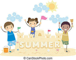 Sand Castle - Illustration of Kids Presenting Their Sand...