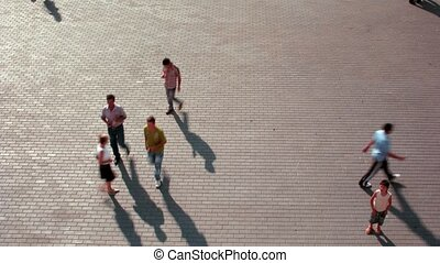 People walk on Manezhnaya Square - MOSCOW - AUGUST 18:...