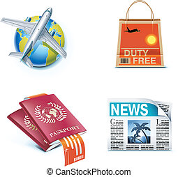Travel and vacations icons P1 - Set of icons representing...