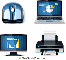 Vector office icon set P3 - Set of business and office work...