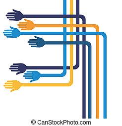 Fun geometric hands design.