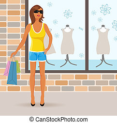 modern girl with shopping bags - Illustration modern girl...