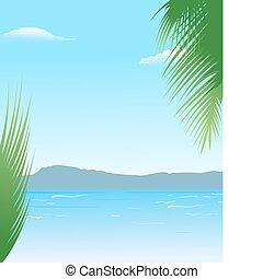 summer background with beach and mountains