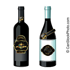 Illustration of set wine bottle with label isolated on white...