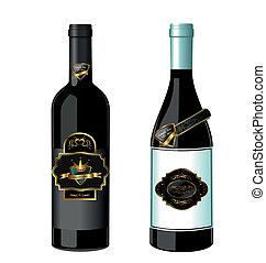 Illustration of set wine bottle with label