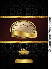 background with golden luxury label and crown - Illustration...