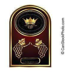 golden frame label for packing wine - Illustration golden...