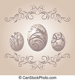 vintage Easter background with eggs