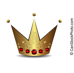 Realistic illustration of royal gold crown isolated on white...
