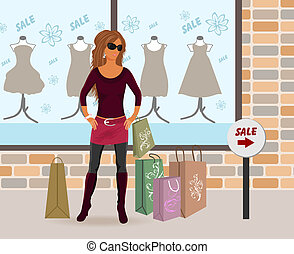 modern girl loaded with shopping bags