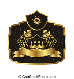 gold label with grapevine with crown