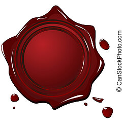 Illustration of wax grunge red seal isolated on white...