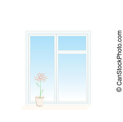 Illustration of flower in a pot on a window sill isolated on...