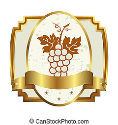 decorative gold frame label with grapevine - Illustration...