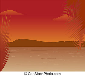 Sea landscape with mountains sunset