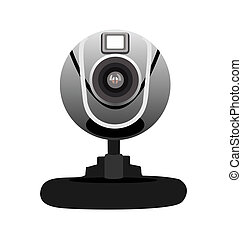 Realistic illustration of web camera isolated of white...