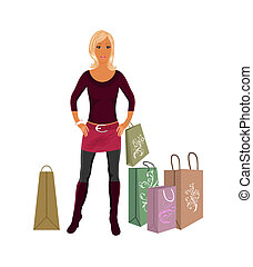 fashion shopping girl with bags - Illustration fashion...